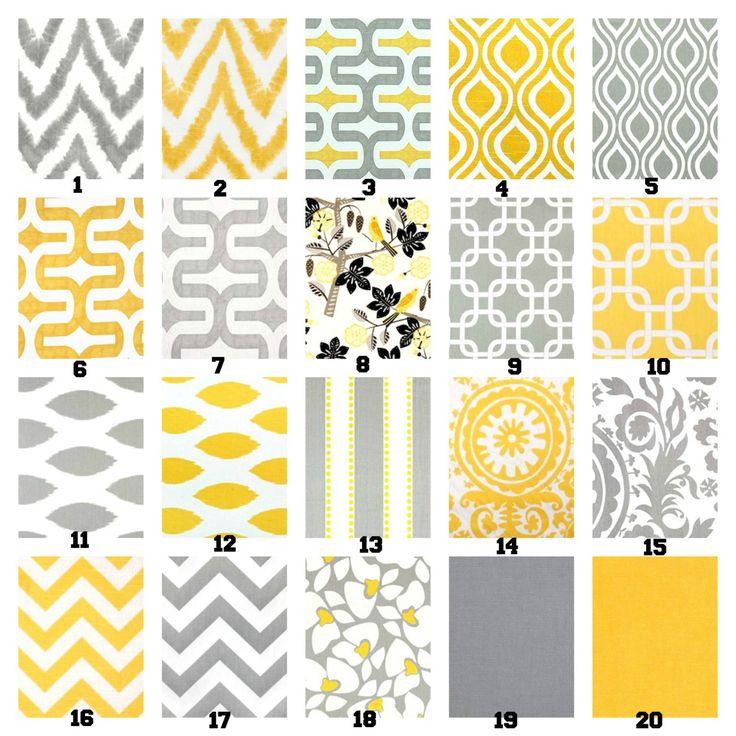 Gris amarillo gris amarillo almohada blanca por fabricjunkie1640