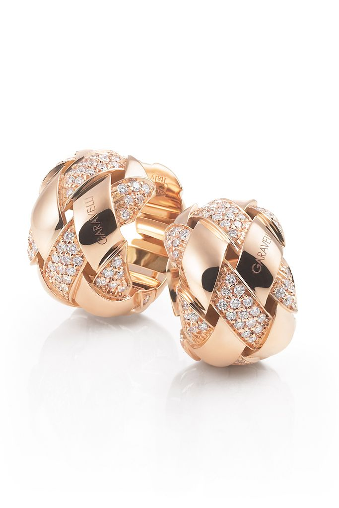 Garavelli's 18-karat rose gold earrings with white diamonds.