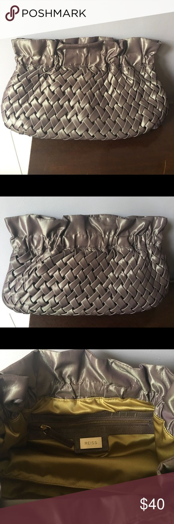 "Reiss clutch 9"" tall x 14"" wide. Barely used. No marks, stains or tears. Closes with a firm magnet lining the top. This is a great clutch in great shape! I bought in NYC and never use it. Reiss Bags Clutches & Wristlets"