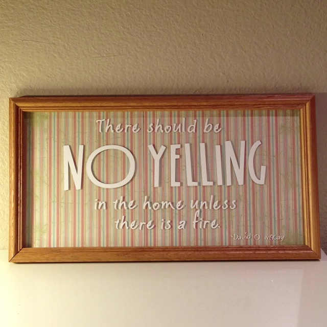 There should be NO YELLING in the home unless there is a fire. -- David O McKay