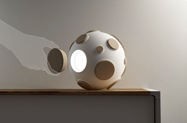 Cute  Armstrong  Moon Desk Lamp  #Concept #Design #LED #Modern          Light intensity can be regulated by the number of open craters. The lamp turns on when taking out the cork and off when it is back ...