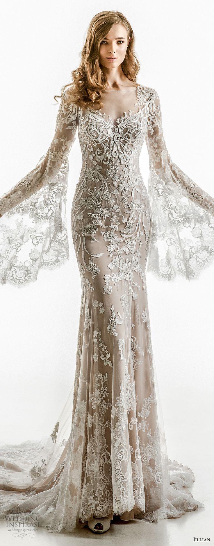 jillian 2018 bridal long bell sleeves sheer boat sweetheart neckline full embellishment elegant sheath wedding dress sheer button back chapel train