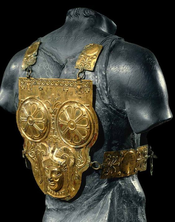 Gilded bronze cuirass, Phoenician, Ksour-es-Sal Tunisia 3rd C. Carthaginian breastplate dates to the Punic Wars with Rome. Musee du Bardo Tunis Tunisia - Click on the images to visit the Historyteller website.