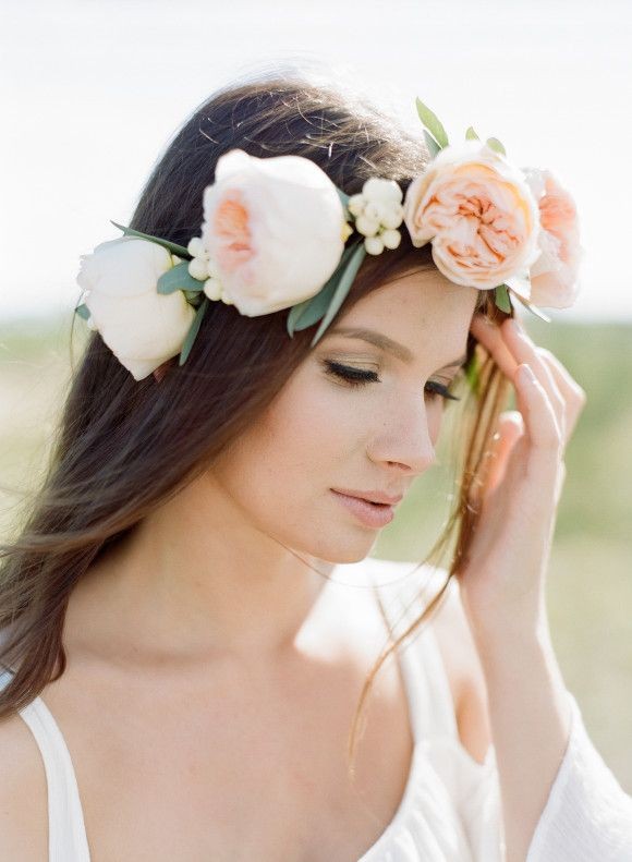 Soft pink floral crown // Nadia Hung Photography www.nadiahungphot... via @Judy Clark Sparrow - wedding blog