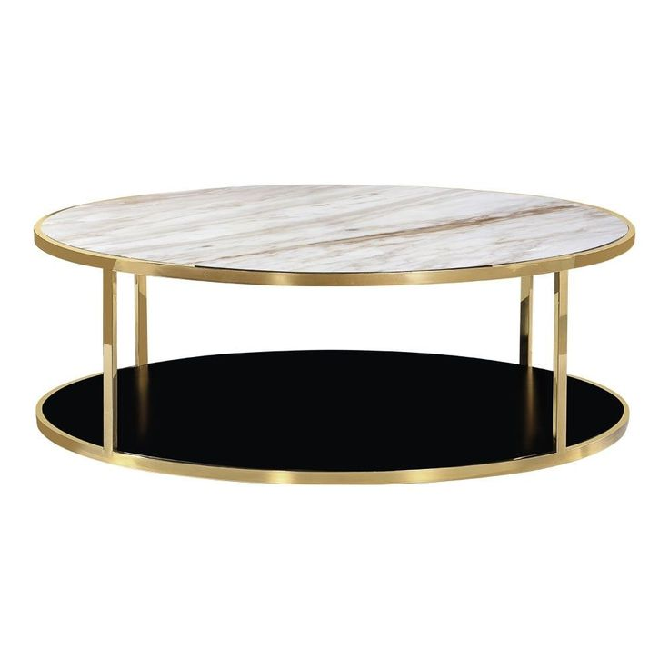 Cult Living Luxor Round Coffee Table, White Marble Top, Gold