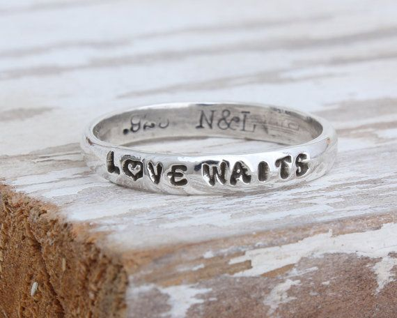 Purity Ring for Girls, Single Band Girl's Purity Ring, Christian Purity Ring, Stamped Purity Ring by Nelle and Lizzy. True Love Waits Ring.