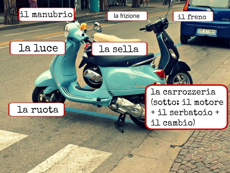 Learning Italian - Vespa parts + more for language learners. B2, testo storia Vespa + comprensione del testo + lessico.