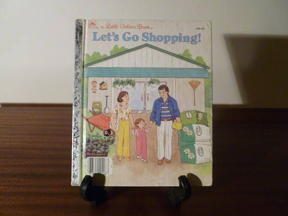 "$7.50   Vintage 1988 Book ""Let's Go Shopping"" - A little Golden Book / Kids Book / Shopping With Mum and Dad"