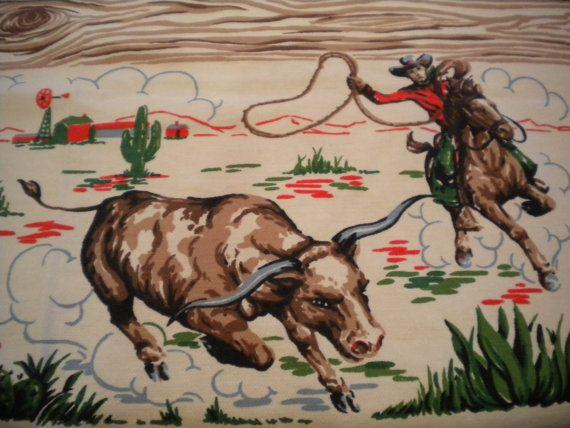 Vintage 50s Tablecloth Atomic Ranch Western Cowboy by randomretro, etsy