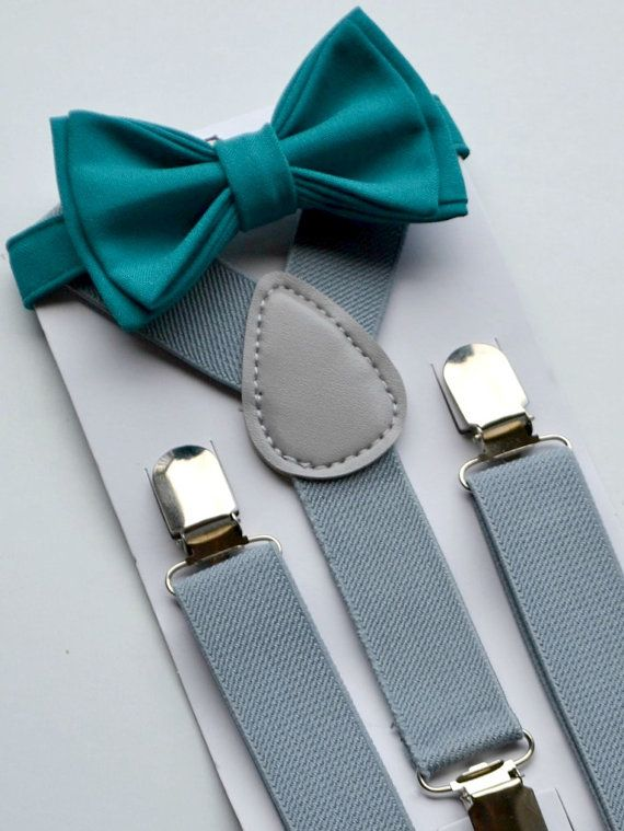 teal Casual Ring Bearer Outfits | Boys Birthday Outfit -- Bow Tie Suspenders -- Grey Suspenders -- Teal ...