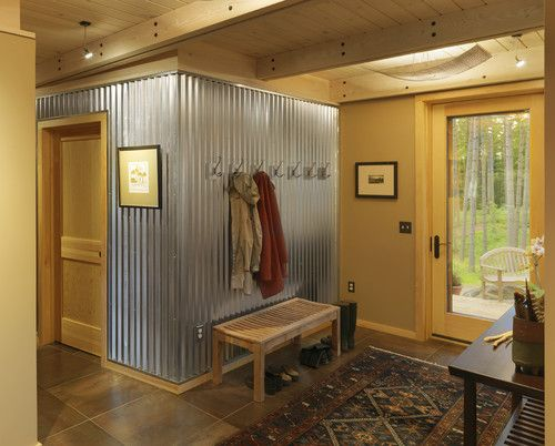 Corrugated metal wall design corrugated wainscoting for Corrugated iron home designs