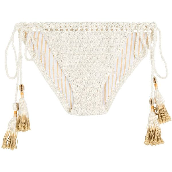 She Made Me Crochet Cheeky Bikini Bottoms ($85) ❤ liked on Polyvore featuring swimwear, bikinis, bikini bottoms, swimsuits, white, beaded bikini, cut out bikini, cut out bikini bottom, macrame bikini and white bikini