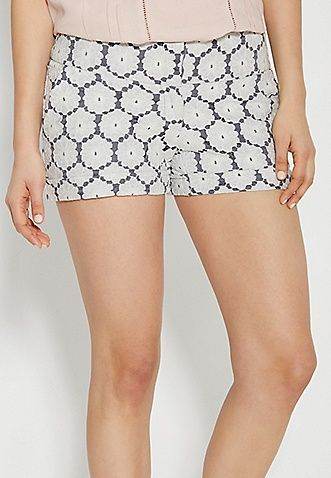 the smart shorts with floral lace overlay | maurices