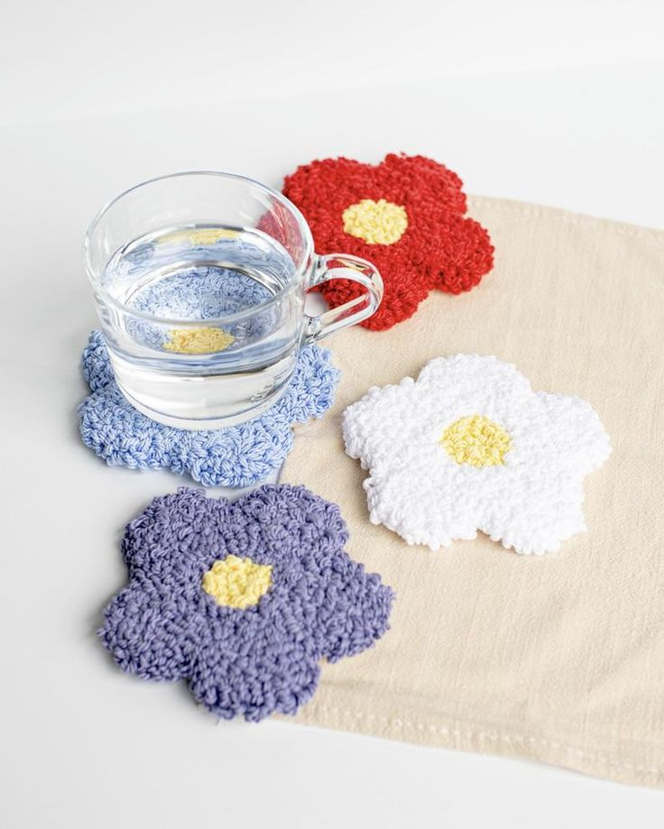Handmade Mug Rug Drink Coasters Easter Handmade Rug wall hanging Miniature accent rug Punch Needle Coaster