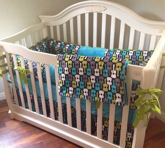 Groovy Guitar 4pc Boy Crib Bedding Set Made to by maxandgrace, $405.00