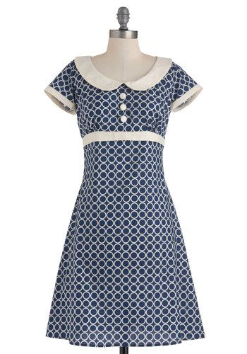 Caveats: would not want such great color contrast, not crazy about tie in the back. Encircled in Sweetness Dress - Mid-length, Blue, White, Print, Bows, Buttons, Peter Pan Collar, Party, A-line, Short Sleeves, Spring, 60s, Mod