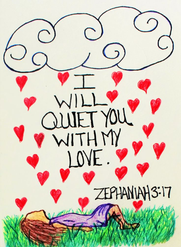 """""""The Lord your God is with you, He is mighty to save, He will take great delight in you, He will quiet you with his love and rejoice over you with singing."""" Zephaniah 3:17, (Inspirational Doodle Art)"""