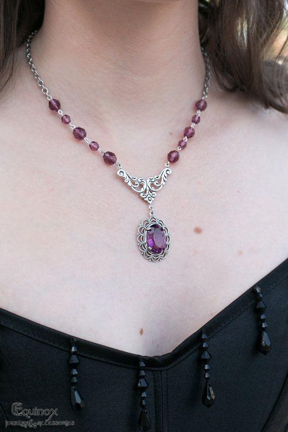 Minerva Gothic Necklace  Swarovski  crystal  by VictoriaEquinox