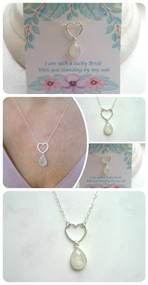 Bridesmaid Gift Set! Necklace and Card. Sterling Silver Heart & Moonstone Necklace. Bridal Party Gifts