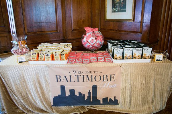 "Maryland wedding favor idea - A ""Baltimore Bar"" featuring local snacks {Artful Weddings by Sachs Photography}"