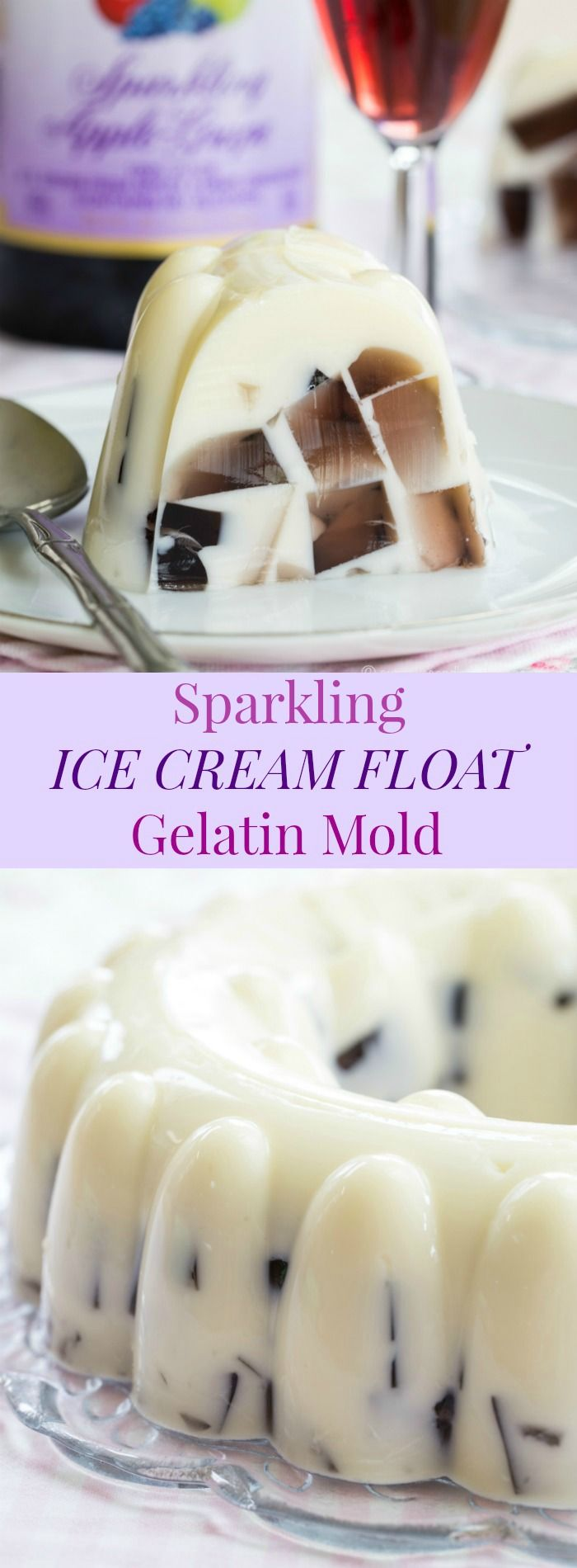 Sparkling Ice Cream Float Gelatin Mold - a simple but impressive no-bake dessert made with your favorite @martinellisco Sparkling Cider or Juice #ad