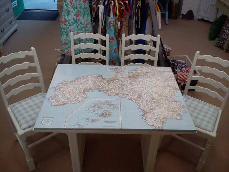 Draw leaf (extending) map table and chairs.