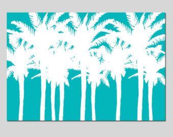 Palm Tree Silhouette - impresión de 13 x 19 - isla Tropical decoración - elija sus colores - se muestra en amarillo, turquesa, naranja, verde y más