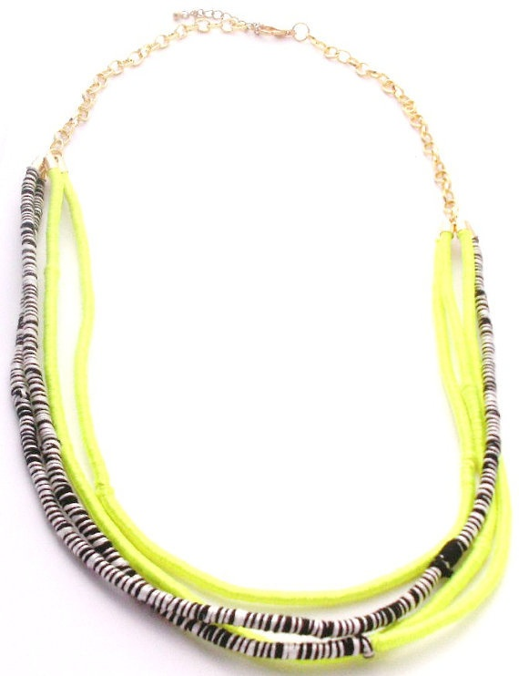 Silver and neon yellow necklace