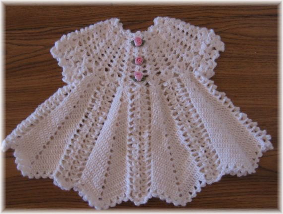 Original Designs by Rebecca Leigh Crochet Pattern for Apple Blossom Baby Dress Easy to make in baby sports weight yarn #3 or Superfine