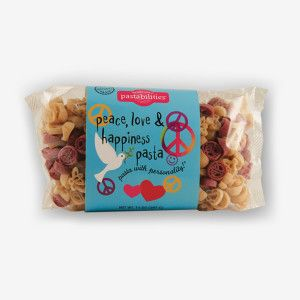 Share the Peace, Love & Happiness Pasta! Enjoy a fun and festive pasta that is just what you need to add a little happiness to everyday cooking. Shop NOW!!!