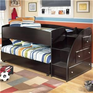 Embrace Twin Loft Bed With Caster Bed And Right Storage Steps By Signature  Design By Ashley   Compass Furniture   Loft Bed New Orleans, Metairie,  Kenner, ...