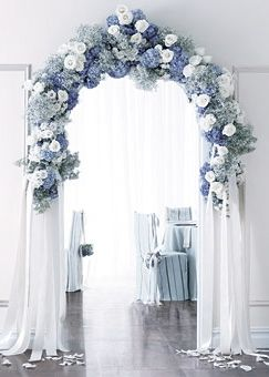 FOR THE RECEPTION || Dreamy blue & white floral arch || NOVELA...where the modern romantics play & plan the most stylish weddings...(Instagram: @novelabride) www.novelabride.com