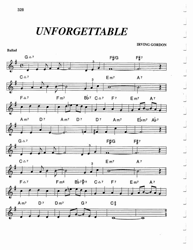 Jazz Standard Realbook Chart Unforgettable Partition Musicale