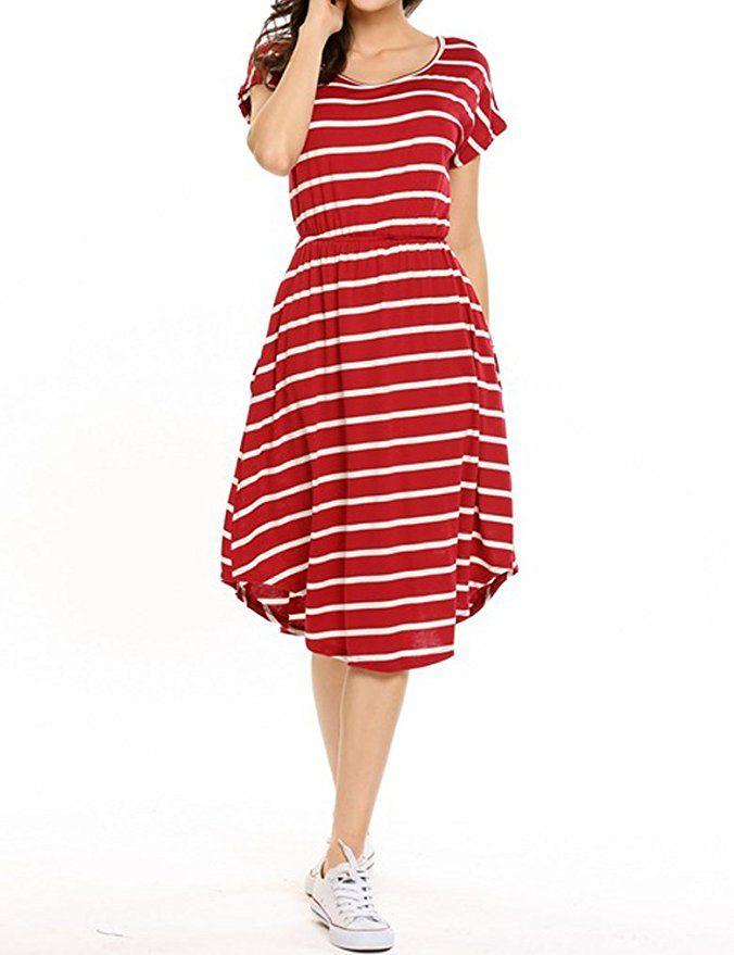 bdbb4e2a86b0 Qearal Women Summer Short Sleeve Striped Loose Swing T-Shirt Midi Dress  with Pockets at