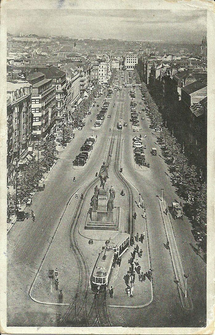 Praha, Vaclavke namesti. date of sending postcards 15.04.1943 adress: Koniaków… south Poland