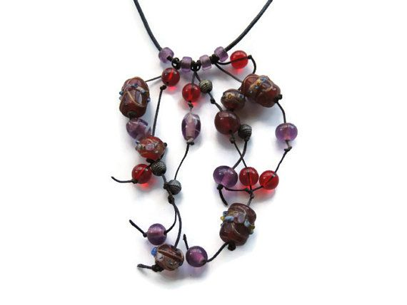 glass bead necklace bead strand necklace red by Homeforglasslovers, $35.00