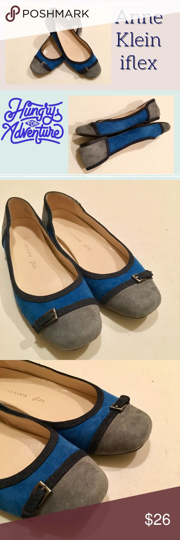 Anne Klein iflex Plural Gray and Blue Suede Flats They are great. Unfortunately too small on me :( very cute and unique for flats :) size: 7.5 Anne Klein Shoes Flats & Loafers