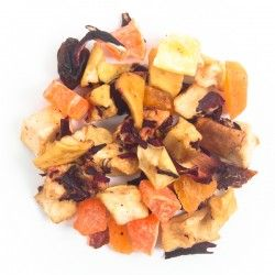 Maracuya - Origen: Mezcla de la casa.Ingredientes: Mango, manzana, papaya, flor de jamaica, escaramujo y maracuyá. Perfecto para preparar caliente o frío.
