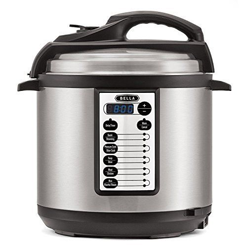 BELLA 6 Quart Pressure Cooker with 10 pre-set functions and Searing Technology, 1000 watt