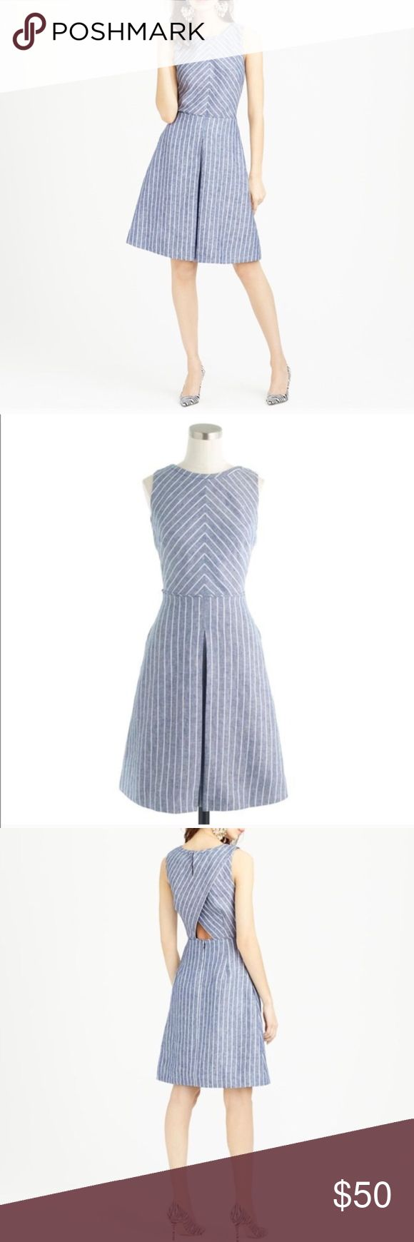J.Crew Chevron Dress  *worn once* Size 0 Super cute chevron flair dress. Adorable cut out in the back that shows a little while still staying classy! Worn once to the Byron Nelson. The easy stripes, functional pockets and subtle cutout in the back make this number ideal for day-to-night wear all summer long. Pair it with flat sandals and a casual tote for errands, barbecues, and other daytime functions, or wear it with heeled espadrilles and a neutral clutch for a night out! J. Crew Dresses