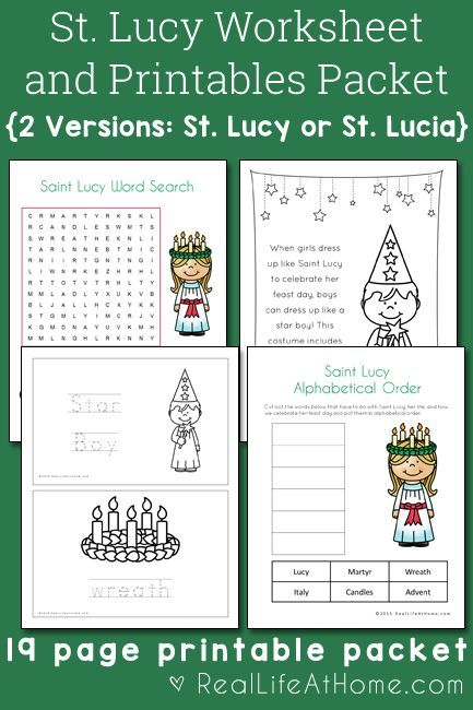 Catholic Worksheets For Kindergarten : Saint lucy printables and worksheet packet with st lucia