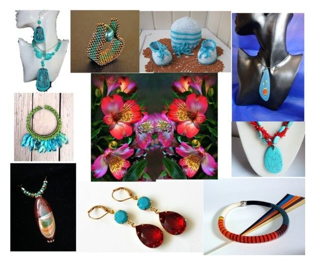 Amazing Red And Turquoise Handmade by lookwellaccessories-ab on Polyvore