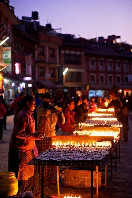 Prayers lamps, Boudhanath Stupa, Kathmandu, Nepal by randomix, via Flickr