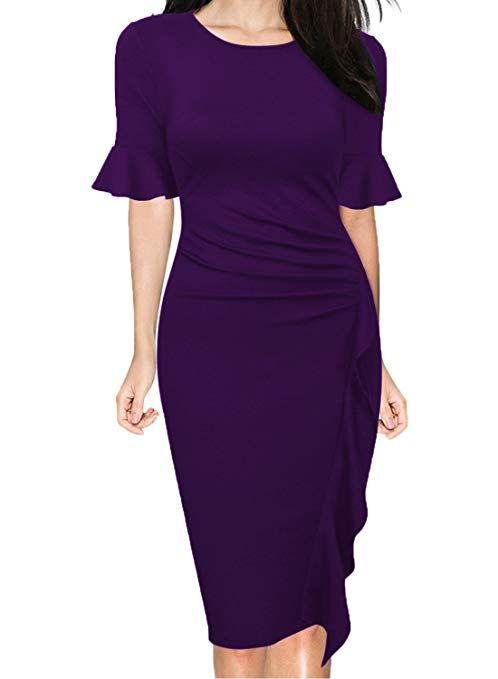 a539b6dff99d WOOSUNZE Women s Business Retro Ruffles Bell Sleeve Slim Cocktail Pencil Dress  Purple