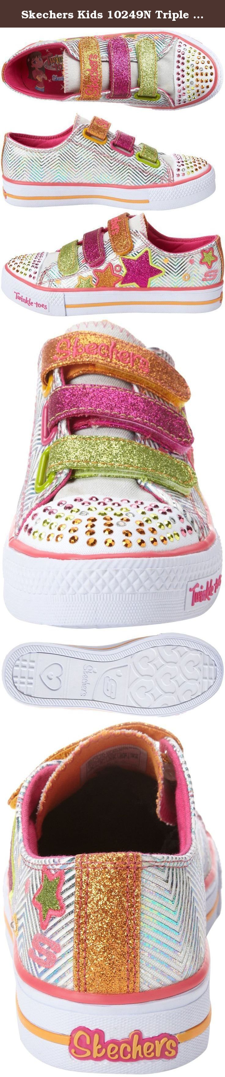 Skechers Kids 10249N Triple Up and Light-Up Sneaker (Toddler/Little Kid). SKECHERS Inf/Tod Shuffles - Triple Up Lights 10249N Metallic-printed textile upper with synthetic accents. Glittery detailing and SKECHERS logos add some extra style. Triple hook-and-loop closure for a secure and adjustable fit. Breathable textile lining and a cushioned textile footbed. Sequin-covered toe cap lights up with every step. Shock-absorbing midsole. Durable rubber outsole. Measurements: Weight: 6 oz…