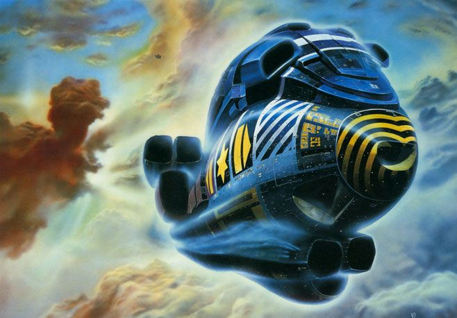 Love Chris Ross' work - so evocative of the scifi books I'd devour in my teens.    http://www.sci-fi-o-rama.com/wp-content/uploads/2009/06/chris_foss_00.jpg