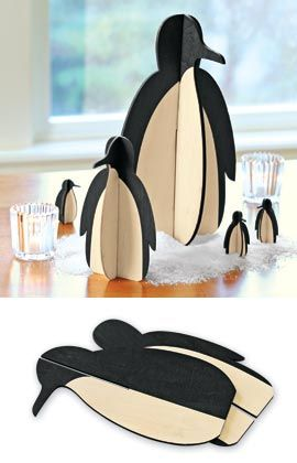 Tux Penguins, Tabletop Wooden Penguins, Two-piece Penguins | Solutions we could totally make some out of cardboard