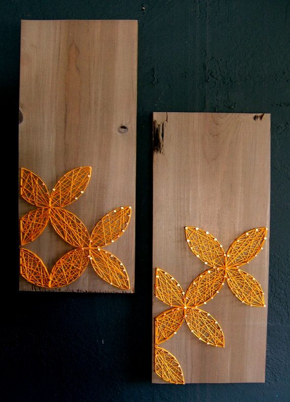 Modern String Art Wooden Tablet - Set of 2 - Yellow Circular Geometric on Distressed Grey, Made to Order. $55.00, via Etsy.
