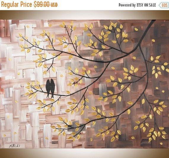Hey, I found this really awesome Etsy listing at https://www.etsy.com/ca/listing/223361068/love-birds-art-gold-brown-canvas-art