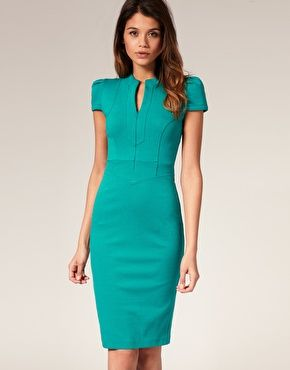 Pencil dress with zip detail and short sleeves $77.58 I would wear this to work if I had the body for it. Simple and modern looking perfect for a graphic designer. Something to work for...
